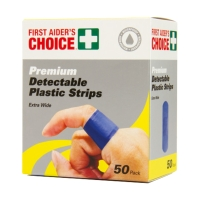 FIRST AIDERS CHOICE BLUE DETECTABLE PLASTIC STRIPS 25 X 72MM - PACK OF 50