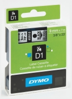 DYMO D1 LABELLING TAPE 9MMX7M BLACK ON CLEAR - EACH