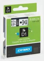 DYMO D1 LABELLING TAPE 6MMX7M BLACK ON WHITE - EACH
