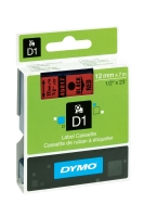 DYMO D1 LABELLING TAPE 12MMX7M BLACK ON RED - EACH