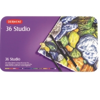 DERWENT STUDIO COLOURED PENCILS WITH TIN - SET OF 36