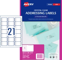 AVERY CRYSTAL CLEAR ADDRESS LABELS LASER PRINTERS, 63.5X38.1MM 525 LABELS L7560