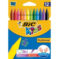 BIC PLASTICDECOR STANDARD BARREL ASSORTED CRAYONS - PACK OF 12
