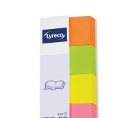LYRECO PAPER INDEX PAGE MARKERS 20 X 38MM ASSORTED - PACK OF 4