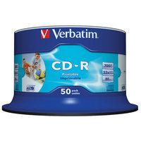 VERBATIM CD-R INKJET PRINTABLE 80MIN/700MB WHITE 52X SPINDLE - PACK OF 50
