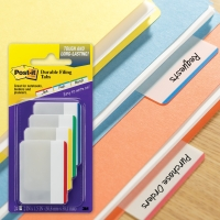 POST-IT FLAT DURABLE TABS 50 X 38MM WHITE/RED/YELLOW/BLUE/GREEN - PACK OF 4