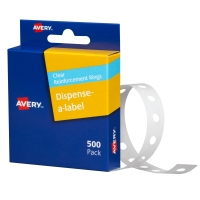 AVERY REINFORCEMENT RINGS, 13MM DIAMETER, CLEAR, 500 LABELS