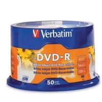 VERBATIM DVD-R  INKJET PRINTABLE 4.7GB 16X SPINDLE - PACK OF 50