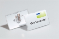 DURABLE CLICK FOLD NAME BADGE PIN & CLIP 54X90MM CLEAR - PACK OF 25