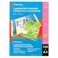 REXEL LAMINATING POUCH 100MICRON A3 GLOSS - PACK OF 100