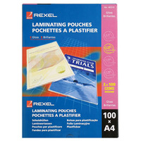 REXEL LAMINATING POUCH 2X100MICRON A4 GLOSS - PACK OF 100