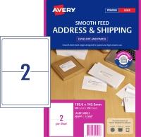 AVERY SMOOTH FEED SHIPPING LABELS, LASER PRINTERS 199.6X143.5MM 500 LABELS L7168