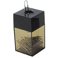 ITALPLAST MAGNETIC PAPER CLIP DISPENSER 57 X 57 X 105MM BLACK - EACH