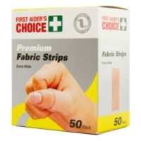 FIRST AIDERS CHOICE PREMIUM ADHESIVE FABRIC STRIPS 25 X 72MM - PACK OF 50
