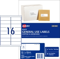 AVERY GENERAL USE LABELS, 99.1X34MM, 1600 LABELS L7162GU