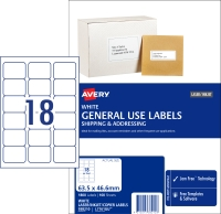 AVERY GENERAL USE LABELS, 63.5X46.6MM, 1800 LABELS L7161GU