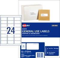 AVERY GENERAL USE LABELS, 64X33.8MM, 2400 LABELS L7159GU