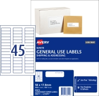 AVERY GENERAL USE LABELS, 58X17.8MM, 4500 LABELS L7156GU