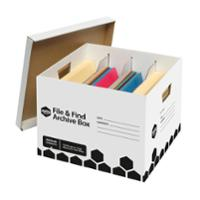 MARBIG ARCHIVE BOX FILE & FIND 390X375X260MM BLACK/WHITE - EACH