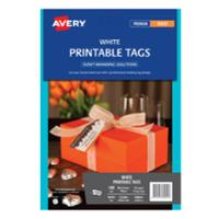 AVERY C32300 WHITE DOUBLE SIDED PRINTABLE TAGS WITH STRING - PACK OF 10