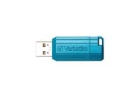 VERBATIM PINSTRIPE RETRACTABLE USB DRIVE 8GB BLUE - EACH