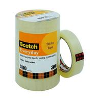 SCOTCH EVERYDAY TRANSPARENT TAPE 500 24MM X 66M - PACK OF 6