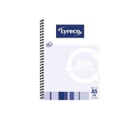LYRECO 60% RECYCLED SPIRAL BOUND NOTE BOOK A5 200 PAGE - EACH