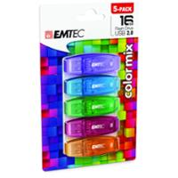 EMTEC C410 COLOUR MIX USB 16GB 5 PACK
