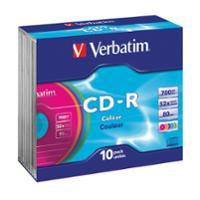 VERBATIM CD-R 80MIN/700MB 52X SLIM CASE - PACK OF 10