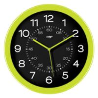 CEP 820 ROUND WALL CLOCK 30CM BLACK FACE WITH GREEN TRIM - EACH