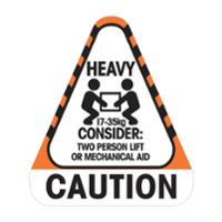 STEALTH 790696  CAUTION HEAVY 17 TO 35KG  LABEL - ROLL OF 250 LABELS