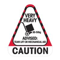STEALTH 790697  CAUTION VERY HEAVY 36 TO 50KG  LABEL - ROLL OF 250 LABELS