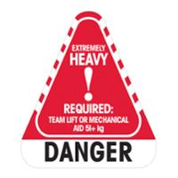 STEALTH 790698 CAUTION LABEL  DANGER EXTREMELY HEAVY 51KG+  - ROLL OF 250 LABELS