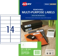 AVERY REMOVABLE MULTI-PURPOSE LABELS, 99.1X38.1MM, 350 LABELS L7163