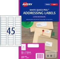 AVERY QUICK PEEL ADDRESS LABELS FOR LASER PRINTERS, 58X17.8MM, 4500 LABELS L7156