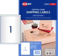 AVERY CRYSTAL CLEAR SHIPPING LABELS LASER PRINTERS 199.6X289.1MM 25 LABELS L7567