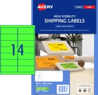 AVERY FLUORO GREEN SHIPPING LABELS LASER PRINTERS 99.1X38.1MM 350 LABELS L7163FG