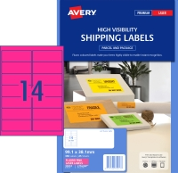 AVERY FLUORO PINK SHIPPING LABELS LASER PRINTERS 99.1X38.1MM, 350 LABELS L7163FP
