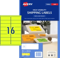 AVERY FLUORO YELLOW SHIPPING LABELS LASER PRINTERS 99.1X34MM, 400 LABELS L7162FY