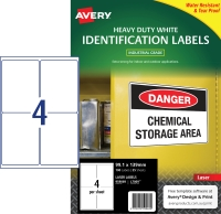 AVERY WHITE HEAVY DUTY LABELS FOR LASER PRINTERS, 99.1X139MM, 100 LABELS L7069