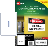 AVERY WHITE HEAVY DUTY LABELS FOR LASER PRINTERS, 199.6X289.1MM, 25 LABELS L7067