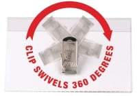 REXEL CONVENTION CARD HOLDER SWIVEL CLIP 92X58MM CLEAR - PACK OF 50