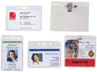 REXEL ID POUCH WITH LARGE ID CARD HOLDER WITH PIN & CLIP 84X113MM - PACK OF 10