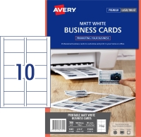 AVERY MATT FINISH BUSINESS CARDS, 90X52MM, 200 CARDS L7414
