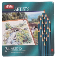 DERWENT ARTIST COLOURED PENCILS WITH TIN - SET OF 24