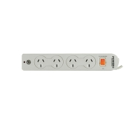 ITALPLAST 4 OUTLET POWERBOARD WITH MASTER SWITCH, SURGE & OVERLOAD PROTECTION