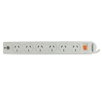 ITALPLAST 6 OUTLET POWERBOARD WITH MASTER SWITCH & OVERLOAD PROTECTION - EACH