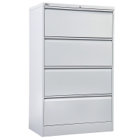 GO STEEL LATERAL FILING CABINET 4 DRAWER 1341H X 900W X 473D WHITE - EACH