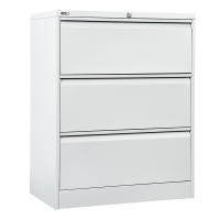GO STEEL LATERAL FILING CABINET 3 DRAWER 1016H X 900W X 473D WHITE - EACH