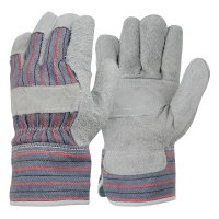 FRONTIER CANDY STRIPE GENERAL PURPOSE COW SPLIT CHROME LEATHER GLOVES - PAIR
